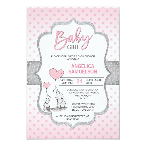 Cute Polka Dot Pink Grey Elephant Baby Shower GIRL Invitation