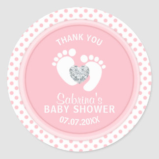 Cute Polka Dot Pink White Feet Baby Shower Classic Round Sticker