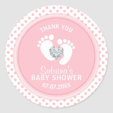 Toddler & Baby themed Cute Polka Dot Pink White Feet Baby Shower Classic Round Sticker