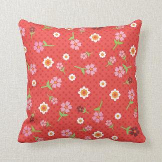 Cute polka dot red flower retro pattern throw pillow