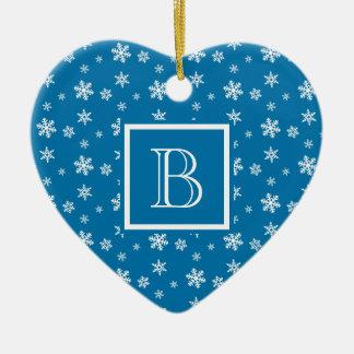 Cute Polka Dot Snowflakes w Monogram Slate & White Double-Sided Heart Ceramic Christmas Ornament