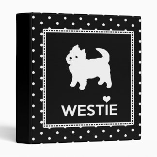 Cute Polka Dot Westie Little White Dog 3 Ring Binder