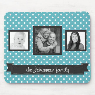 Cute Polka Dots 3 Instagram Photos Family Mouse Pad
