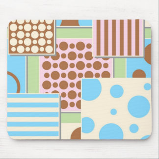 Cute Polka Dots and Stripes Mouse Pad