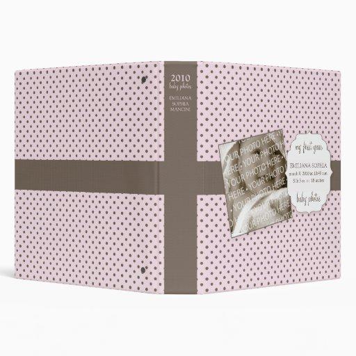 Cute Polka Dots Baby Photos Avery Binder (Pink)