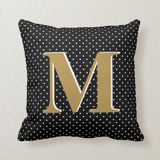 Cute Polka Dots, Black & Gold, add Initial Throw Pillow Zazzle