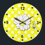 """Cute Polka Dots &amp; Bumble Bee Wall Clock<br><div class=""""desc"""">Fun wall clock with a yellow and white polka dot background and black numbers and dots around the clock&#39;s edges. Graphics of a cartoon daisy, in the middle, and a cartoon bumble bee decorate this cute clock. Customize to add any text you want. Great in kitchens, a child&#39;s bedroom, or...</div>"""