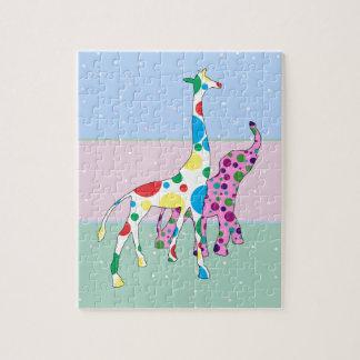 Cute Polka Dots Giraffe Elephant Design Jigsaw Puzzle