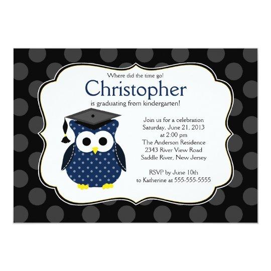 Cute Polka dots Grad Owl Boy Graduation Card