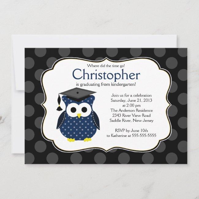 Cute Polka dots Grad Owl Boy Graduation Invitation