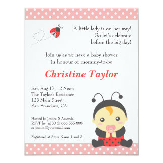 Cute Polka Dots Ladybug Girl Baby Shower Card