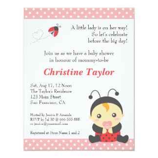 "Cute Polka Dots Ladybug Girl Baby Shower 4.25"" X 5.5"" Invitation Card"