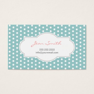 Professional Business Cute Polka Dots Mint Blue Business Card