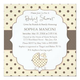 "Cute Polka Dots Modern Baby Shower Invitation 5.25"" Square Invitation Card"