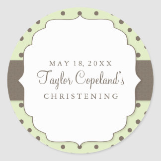 Cute Polka Dots Modern Christening Sticker