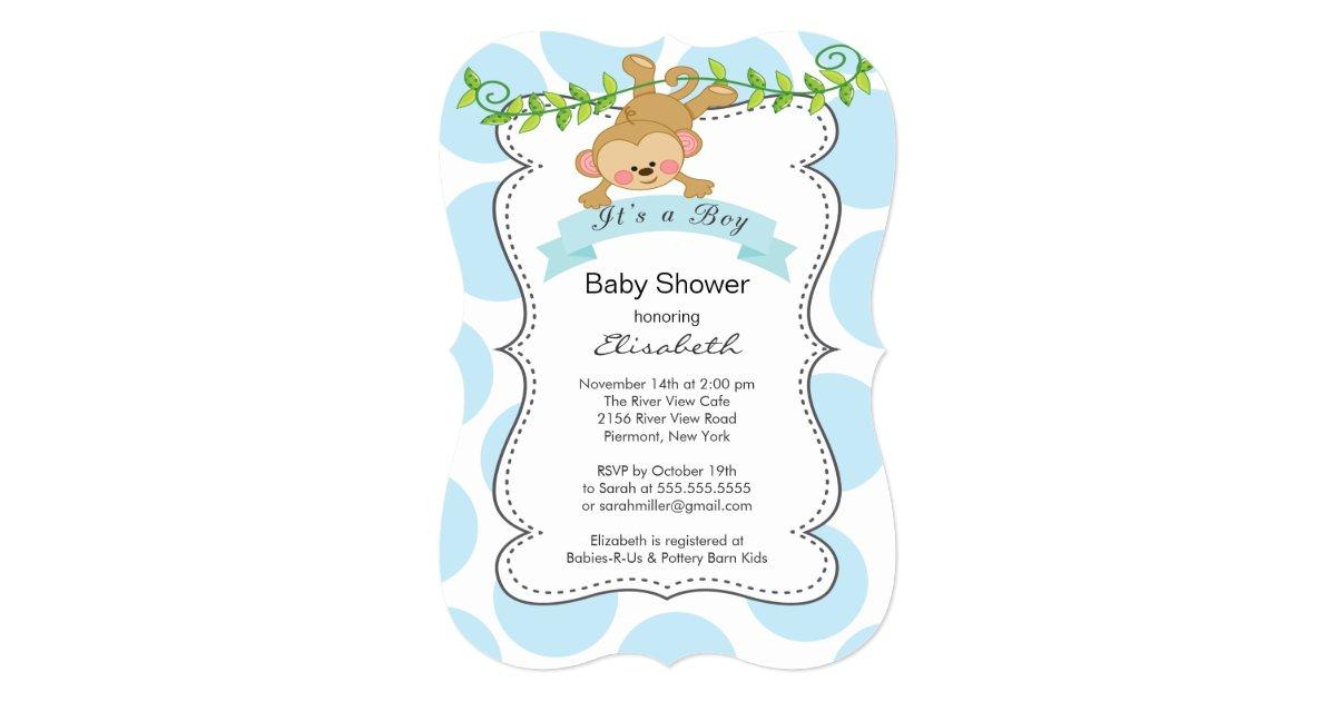 Cute Polka Dots & Monkey boy Baby Shower Card | Zazzle.com