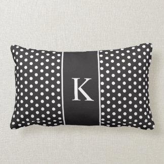 Cute Polka Dots Monogram | Black and White Pillow