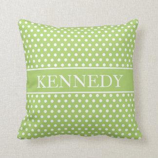Cute Polka Dots Monogram | Green White Throw Pillows