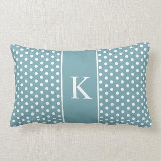 Cute Polka Dots Monogram | Grey Green Pillow