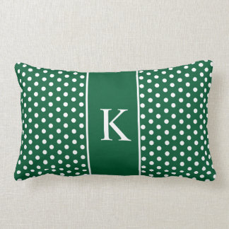 Cute Polka Dots Monogram | Hunter Green Throw Pillows