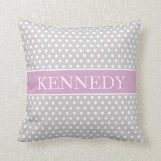Cute Polka Dots Monogram | Light Grey Lilac White Throw Pillow