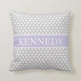 Cute Polka Dots Monogram | Light Grey Purple White Throw Pillow