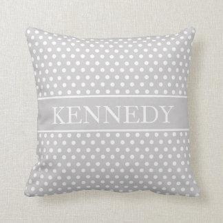 Cute Polka Dots Monogram | Light Grey White Throw Pillow