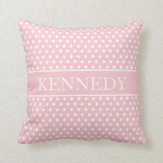 Cute Polka Dots Monogram | Light Pink White Throw Pillow