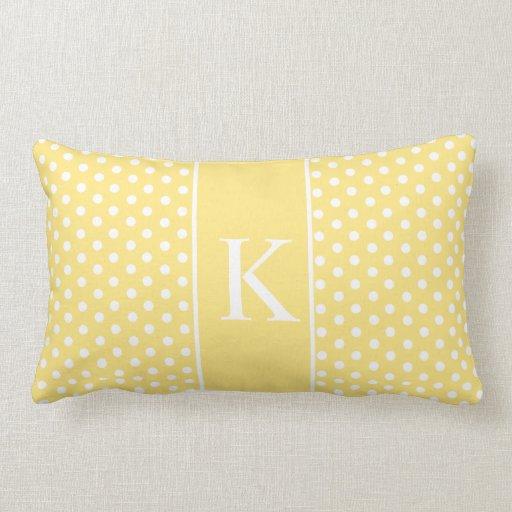 Cute Polka Dots Monogram   Light Yellow Throw Pillow