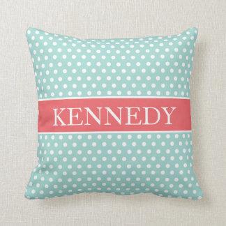 Cute Polka Dots Monogram | Mint Green Coral White Pillows
