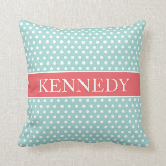 cute polka dots monogram mint green coral white throw pillow