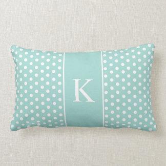 Cute Polka Dots Monogram | Mint Green Throw Pillow