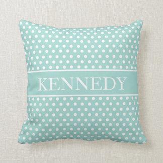 Cute Polka Dots Monogram | Mint Green White Throw Pillow