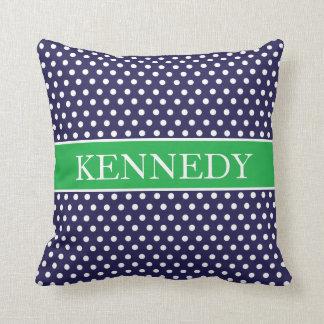 Cute Polka Dots Monogram   Navy Kelly Green White Throw Pillow