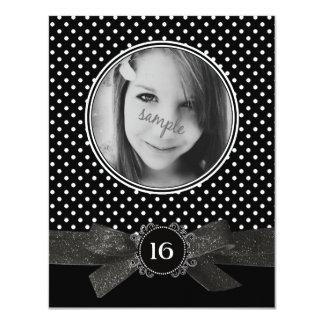 Cute Polka Dots Photo Sweet 16 Black Ribbon Card