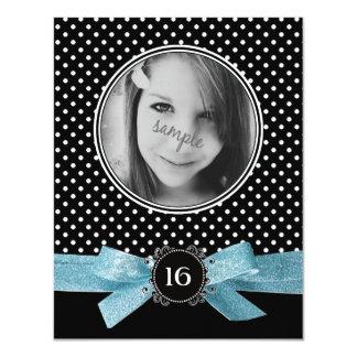 Cute Polka Dots Photo Sweet 16 Blue Ribbon Card