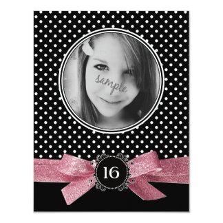Cute Polka Dots Photo Sweet 16 pink ribbon Card