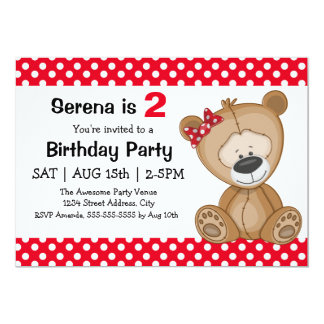 Cute Polka Dots Teddy Bear Girl's Birthday Party Card