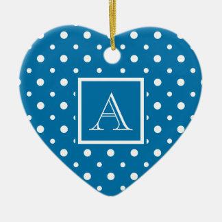 Cute Polka Dots w Monogram Slate Blue & White Double-Sided Heart Ceramic Christmas Ornament