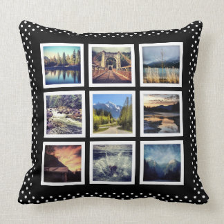 Cute Polkadot 9 Instagram Photos Collage Throw Pillow