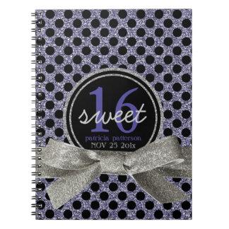 Cute Polkadot Sweet 16 Purple and Black Note Books