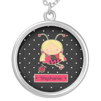 Cute polkadots ladybug girl personalized necklace