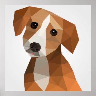Cute polygon dog portrait illustration poster