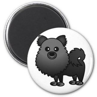 Cute Pomeranian Cartoon - Black 2 Inch Round Magnet