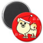 Cute Pomeranian Cartoon Santa Hat 2 Inch Round Magnet
