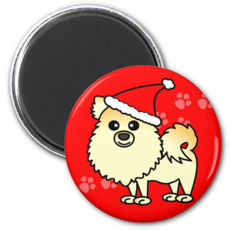 Cute Pomeranian Cartoon Santa Hat 2 Inch Round Magnet