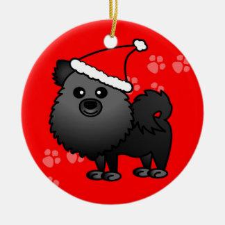Cute Pomeranian Cartoon Santa Hat - Black Christmas Ornaments