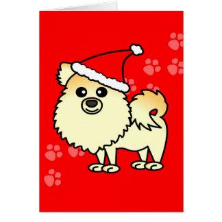 Cute Pomeranian Cartoon Santa Hat Card