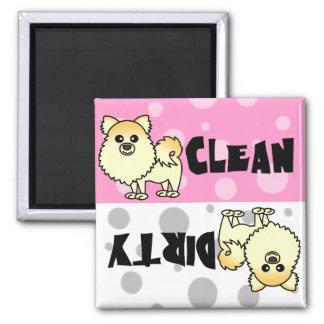Cute Pomeranian Clean / Dirty Dishwasher Magnet