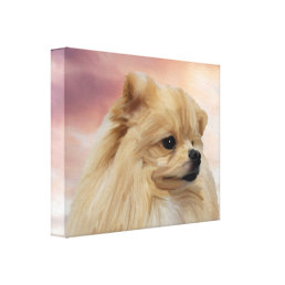 Cute Pomeranian Dog Watercolor Oil Painting Canvas Print